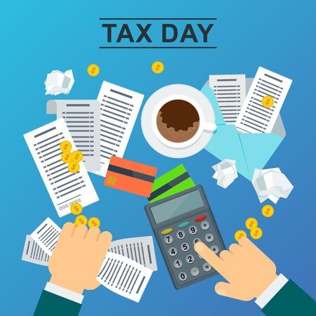 Concepto de día de impuestos. El hombre tiene cuentas en la mano y calcula el costo de una calculadora. Ilustración de vector plano sobre fondo azul. Ilustración de vector