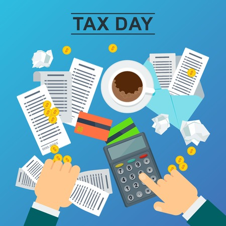Tax day concept. Man holds accounts in his hand and calculates the cost of a calculator. Flat vector illustration on blue background. Stock Illustratie