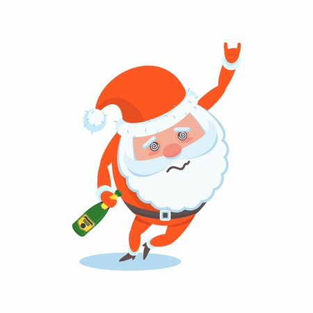 Drunk miserable tired Santa Claus character. Party with alcohol, hangover. Celebration of Merry Christmas and New Year. For Holiday Greeting cards, banners, tags and labels.