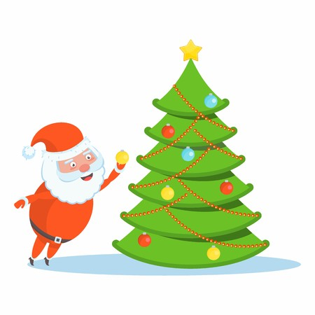 Funny happy Santa Claus character decorates a Christmas tree. Celebration of Merry Christmas and New Year. For Holiday Greeting cards, banners, tags and labels. Иллюстрация