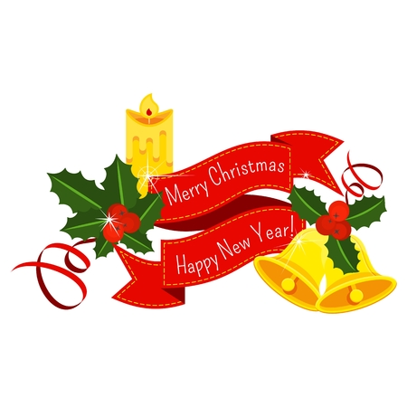 Red ribbon sticker with Holly berry, pine branch and cones, snowflakes, serpentine and gold jingle bells . Decoration for Christmas, New year. For greeting card, vignette, banner, email for holiday. Illusztráció