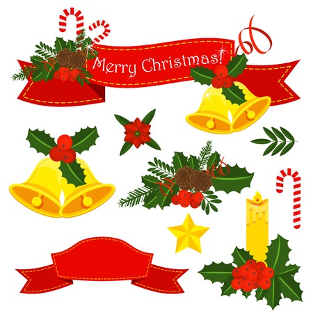 Set of Holly berry, pine branch and cones Vector Illustratie