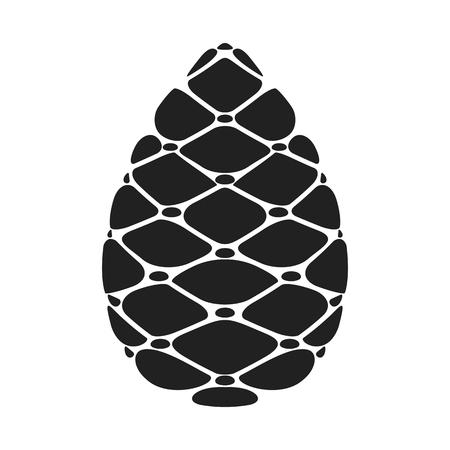 Black silhouette Pinecone vector flat cartoon icon