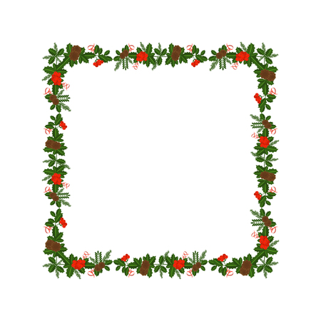 Square frame with Holly berry, pine branch and cones, snowflakes and serpentine. Border for traditional ornamental wreath from plants for greeting cards for for Merry Christmas and Happy New Year.