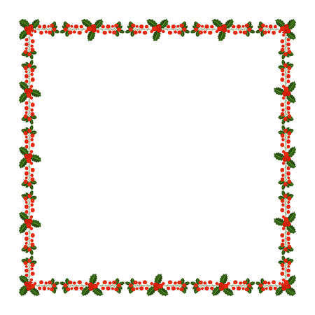 Square frame with Holly berry branch. Border for traditional ornamental wreath from plants for greeting cards for Merry Christmas and Happy New Year. Ilustracja
