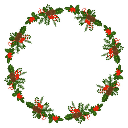 Round frame with Holly berry, pine branch and cones, snowflakes, serpentine and caramel cane. Decoration border for Christmas, New year. For greeting card, vignette, banner, email for holiday. Stock Illustratie