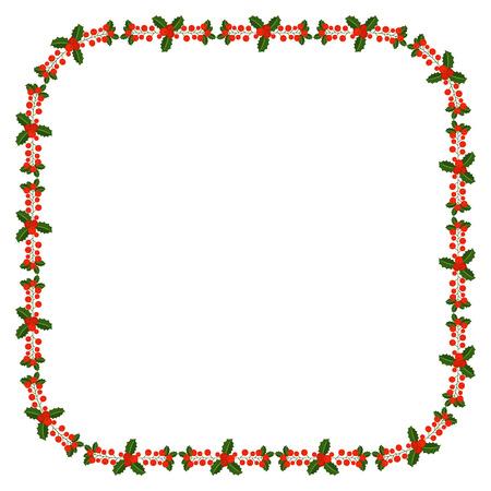 Cadre carré avec branche de baies de houx. Bordure pour couronne ornementale traditionnelle de plantes pour cartes de voeux pour Joyeux Noël et Bonne Année.
