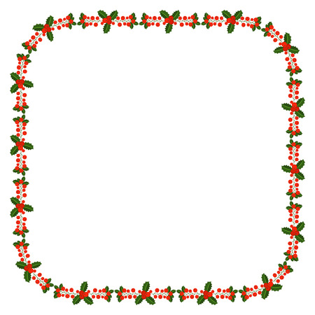 Square frame with Holly berry branch. Border for traditional ornamental wreath from plants for greeting cards for Merry Christmas and Happy New Year.