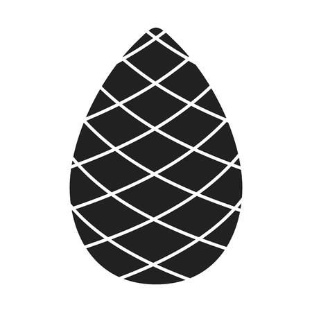 Black silhouette Pinecone vector flat cartoon icon