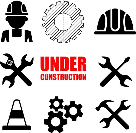 Warning sign under construction. Vector Logo concept.