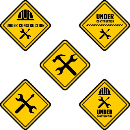 Warning sign under construction. Vector Logo concept.