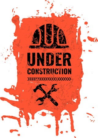 Grunge, scratched under construction Warning road sign.  イラスト・ベクター素材