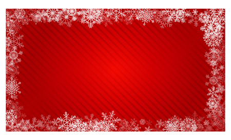Bright red gradient background with snowflakes for greeting cards for Christmas and New Year. Frame of white carved beautiful snowflakes. Template for text. Border with copyspace