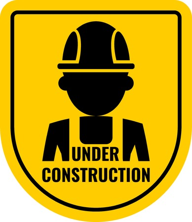 Warning sign under construction. Logo concept. Conceptual image of tools for repair, construction and builder. Cartoon flat illustration. Objects isolated on a background.