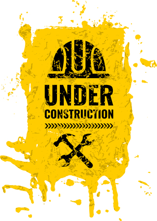 Grunge and dirty, scratched under construction Warning road sign. Logo concept. Conceptual image of tools for repair, construction and builder. Cartoon flat illustration isolated on white background.