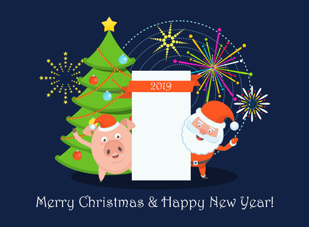 Funny happy Santa Claus and pig character with blank sheet for congratulatory text. Celebration of Merry Christmas and New Year. Greeting card template. Vector flat cartoon illustration.