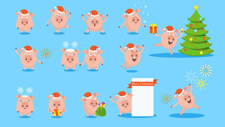 Set of funny merry pig character. For greeting cards and advertising for Christmas and New Year. Flat vector isolated illustration.