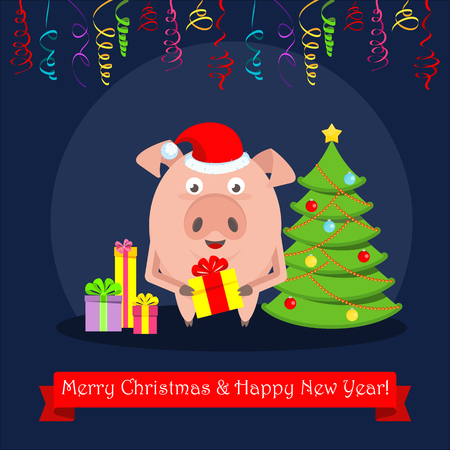 Funny merry pig character with bright boxes of gifts. For greeting cards and advertising for Christmas and New Year. Flat vector illustration. 일러스트