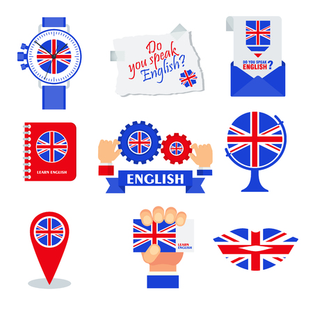 Bright flat banner for English language learning. Vector Illustration