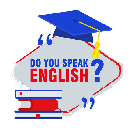 Bright flat banner for English language learning. Courses of foreign language, schools for studying British pronunciation. Information for site, social network, poster.