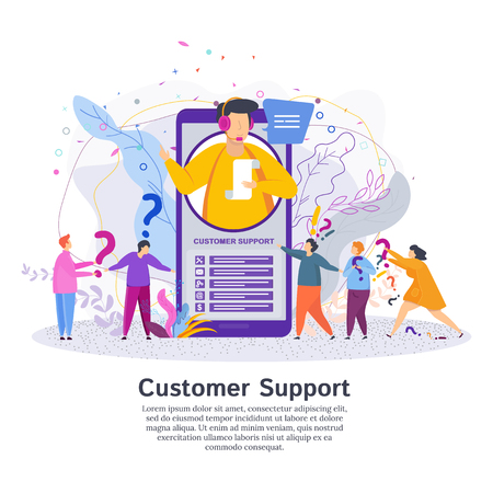 Hotline operator advises client. Man in the call center service support answers customer questions. Online global technical support. Stock fotó - 123180919