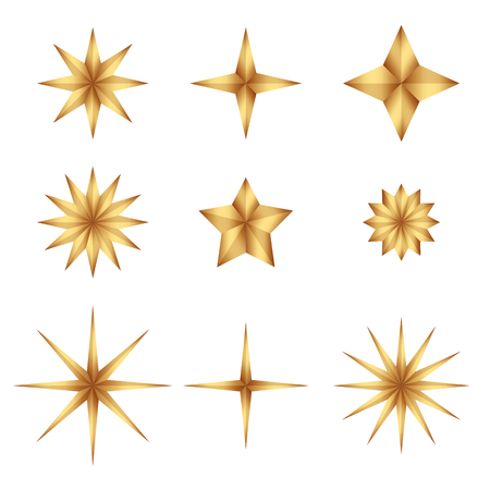 Set of Gold gradient luxury fashion shiny star. Decorations for Christmas, New Year celebration. Flat cartoon star illustration. Objects isolated on a white background.