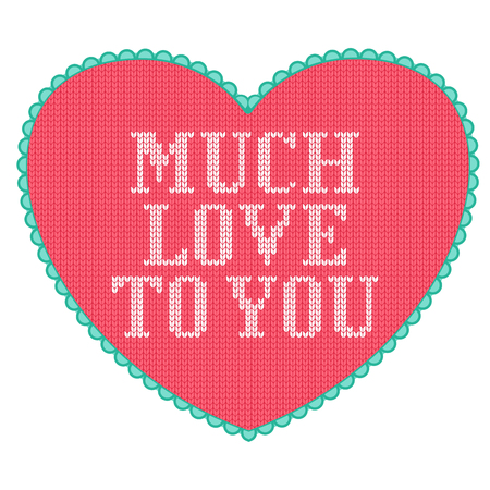 Pink knitted heart with love text. Little cute Valentine day greeting card. Stock Illustratie