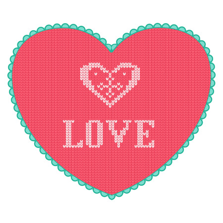 Pink knitted heart with love text. Little cute Valentine day greeting card. 向量圖像