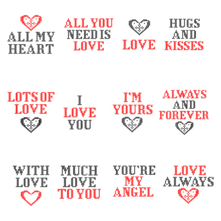 Knitted love text for Little cute Valentine day greeting card.