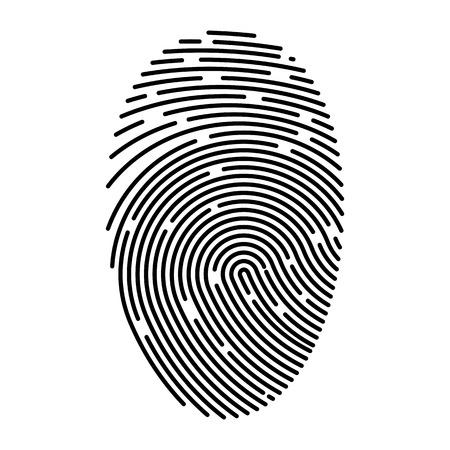 Icono de vector plano de huella digital de contorno. Identificación de persona. Autorización para acceder a datos secretos. Ilustración de vector