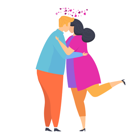 Cute Tender love hugs guy and girls. Date and relationship. Love couples of young people. Happy lovers. Hugs and kisses, promises of eternal love. Characters for a greeting card for Valentine Day. Vetores