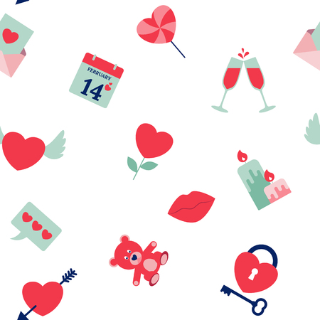 Collection of Valentines Day icons for printables and recipes Illustration