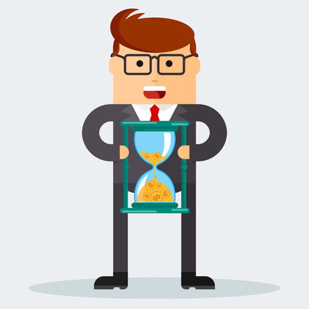 Businessman with hourglass. Time management. Time is money. Managing time resources, doing things right on time.