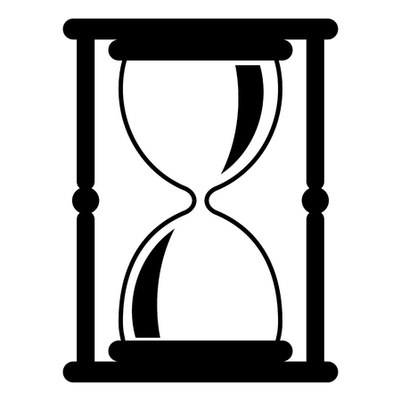 Hourglass black icon. Time measurement. Old fashioned sand clock. Flat vector illustration isolated on white background.