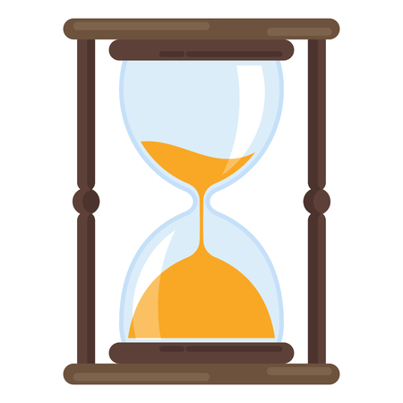 Hourglass color icon. Time measurement. Old fashioned sand clock. Flat vector illustration isolated on white background. Illustration