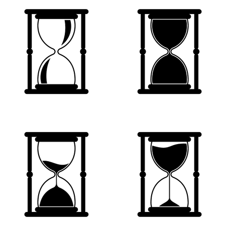 Hourglass black icons set. Time measurement. Old fashioned sand clock. Flat vector illustration isolated on white background.
