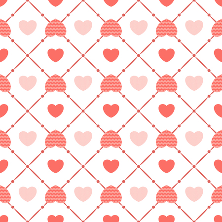 Geometric seamless pattern of vector flat hearts trend coral pink color. Design for packaging, clothing, bed linen, for wrapping paper. Valentines Day gifts.