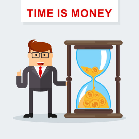 Businessman with hourglass. Time management. Time is money. Managing time resources