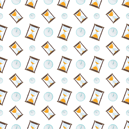 Seamless pattern with hourglass icon. Time measurement. Old fashioned sand clock. Flat vector printed pattern for fabric, curtains or bedding. For home textiles, wrapping paper, clothes.