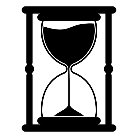 Hourglass icon. Time measurement. Old fashioned sand clock. Flan vector illustration isolated on white background. Illustration