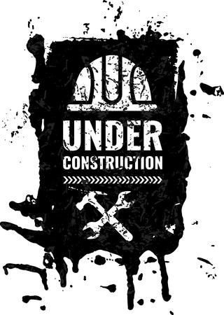 Grunge, scratched under construction Warning road sign.