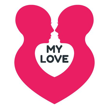 Minimalistic love logo with couple of women profile.