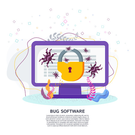 Bug software vector flat concept. Bugs crawling on a computer monitor screen. Software testing and protection against viruses and errors. Illusztráció