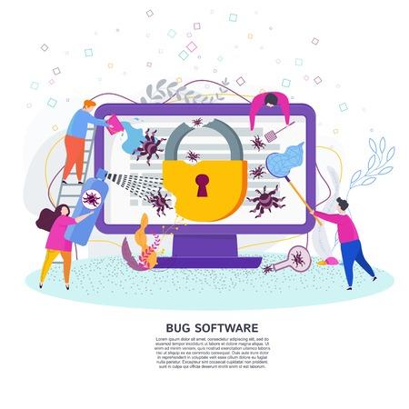 Concept plat de vecteur de logiciel de bogue. De petites personnes attrapent des insectes qui rampent sur un écran d'ordinateur portable. Tests d'applications logicielles informatiques après piratage du système de sécurité informatique.