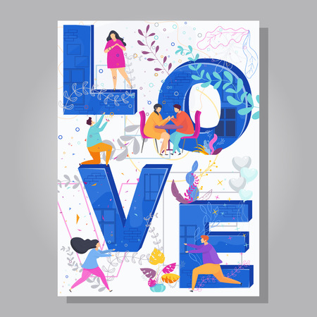 Word LOVE typography on creative concept poster for Valentine Day.