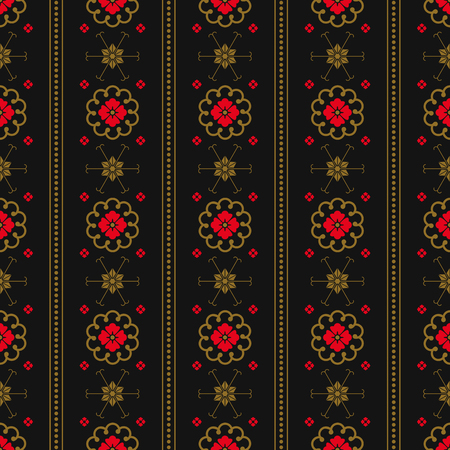 Japanese seamless pattern with traditional decorative elements. Gold and red flowers, circles, geometric ornaments on a black and white background. Flat vector illustration.