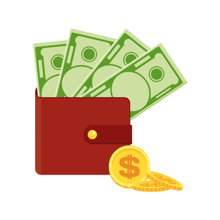 Purse with money. Flat vector cartoon money illustration. Objects isolated on a white background.