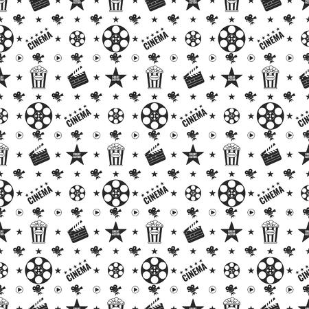Cinema concept seamless pattern. Flat vector cartoon illustration. Illustration