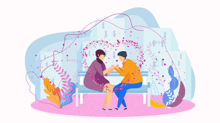 Date in the park on the bench, gentle words, a declaration of love. Love couples of young people. Happy lovers. Hugs and kisses, promises of eternal love. Characters for card for Valentine Day.