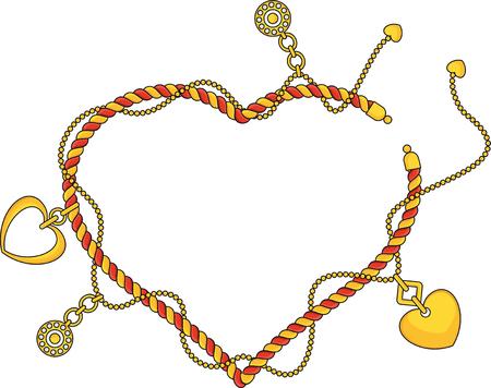 Monture en forme de cœur en tant que braselet tendance avec chaînes, pendentifs, sangles et cordes. Bijoux Accessoires de luxe. Collection de mode pour femme. Contour plat vecteur sur fond blanc.